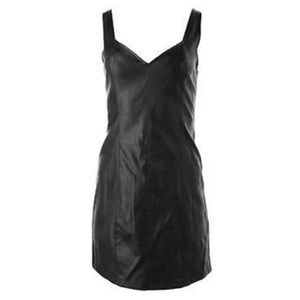 MINKPINK Black Faux Leather Pearl Cocktail Dress